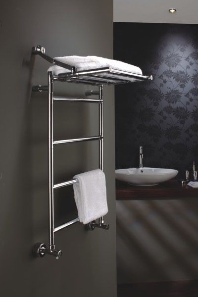 the radiator company cambridge 1135 x 350mm chrome heated towel rail with fold down shelf - Designer Heated Towel Rails For Bathrooms