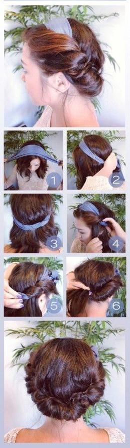 Cute Summer Hairstyles : Scarf Updo Pictorial ! - interest diy
