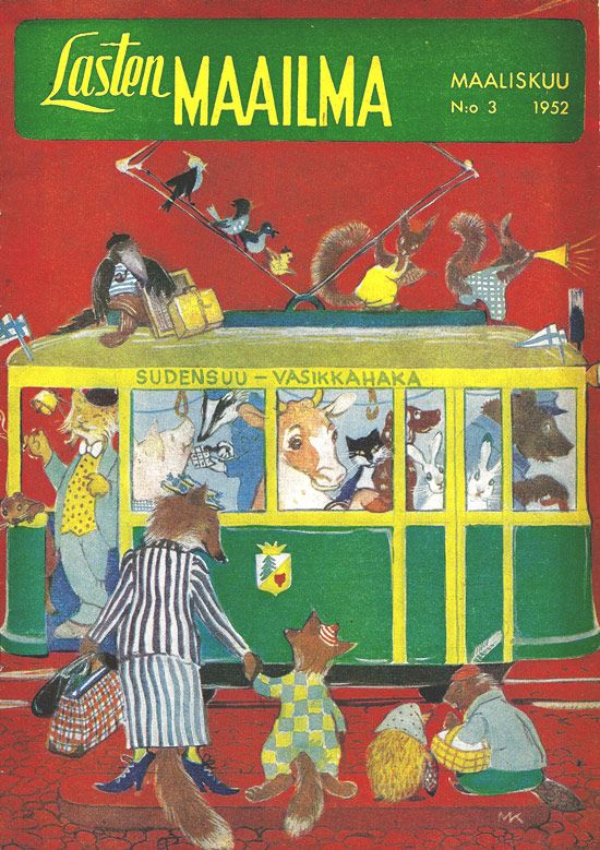 Childrens magazine Lasten maailma, illustrator Maija Karma 1952