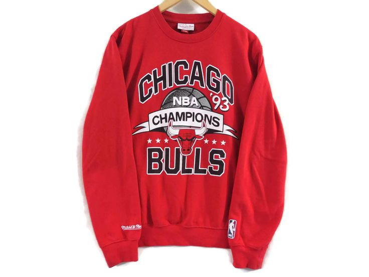VTG 1993 Chicago Bulls Crewneck Sweatshirt - Medium - Red - Michael Jordan - Illinois - NBA - Champions - Vintage Clothing - 90s Clothing - by BLACKMAGIKA on Etsy