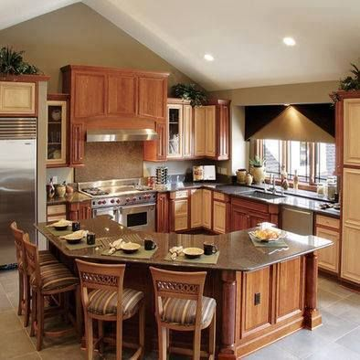 Wraparound counter island idea ideas for the house for Different shaped kitchen island designs with seating