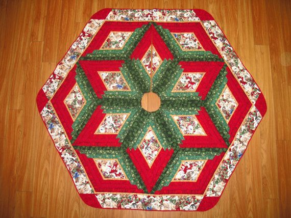 Quilted Christmas Tree Skirt Pinterest : Christmas Tree Skirt Quilt Puppy Christmas by QuiltinWaYnE, USD 189.00 Quilting Pinterest ...