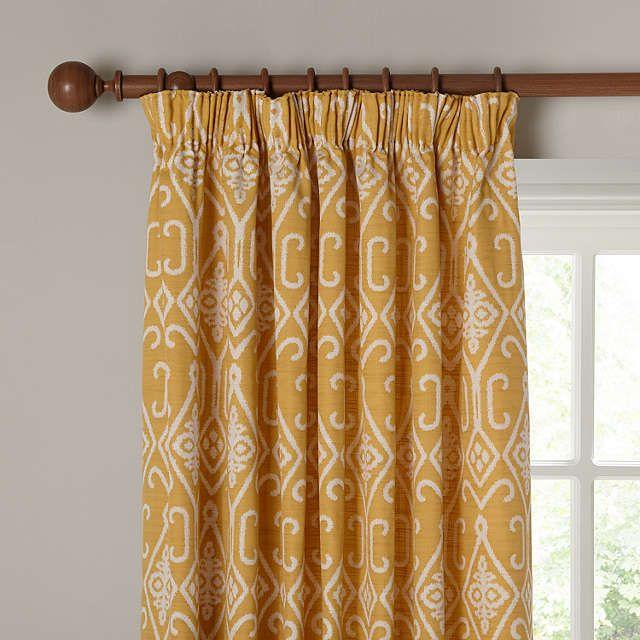 BuyJohn Lewis Saigon Lined Pencil Pleat Curtains, Yellow, W167 x Drop 137cm Online at johnlewis.com