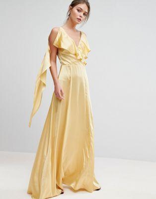 True Violet Ruffle Neck Satin Maxi Dress