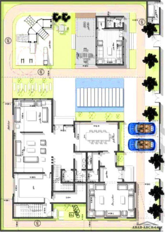 مخطط فيلا دورين وملحق علوي مساحة الارض المناسبة 34 في عمق 24 تصميم شركة فاس New House Plans Fantasy House Home Design Plans