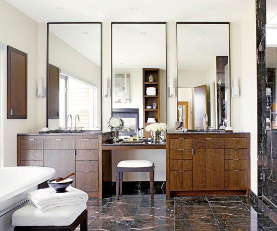 the vanities and mirrors in this bathroom! bathroom mirror vanity
