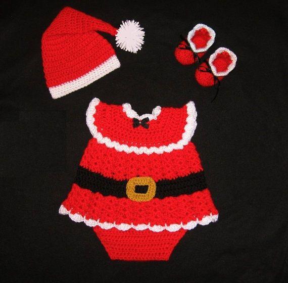 crochet baby girl santa claus set newborn christmas dress christmas baby set santa claus dress set baby knit santa outfit baby santa dress