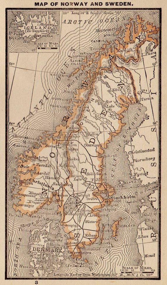RARE Antique NORWAY Map Sweden Map Vintage 1885  by plaindealing