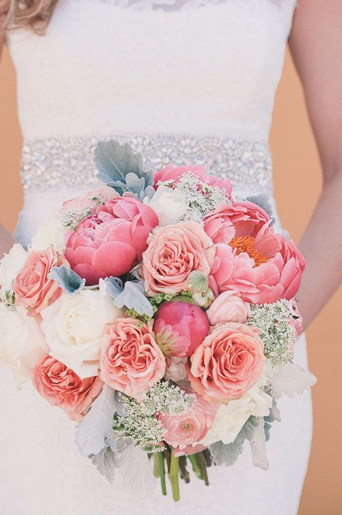 Waterfront Rooftop Wedding in St. Augustine, FL, Coral Bouquet with Roses, Hydrangea, and Ranunculus | Brides.com