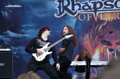 Fabio Lione, Luca Turilli and Alex Staropoli with Rhapsody of Fire at W.O.A 2011