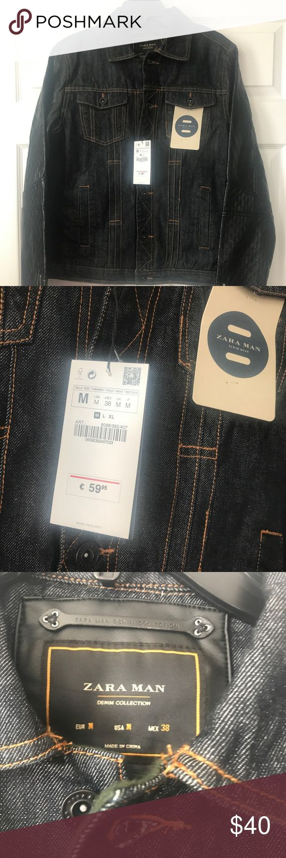 SALE! Zara man denim and leather jacket Brand new.sleeve length from seam is 26.5 inches. Chest is 16 inches. Jacket length is 23.5 inches from the top shoulder seam Zara Jackets & Coats