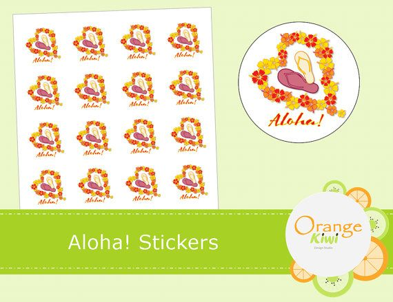 Aloha Stickers  Planner Stickers  Hawaii by OrangeKiwiDesign