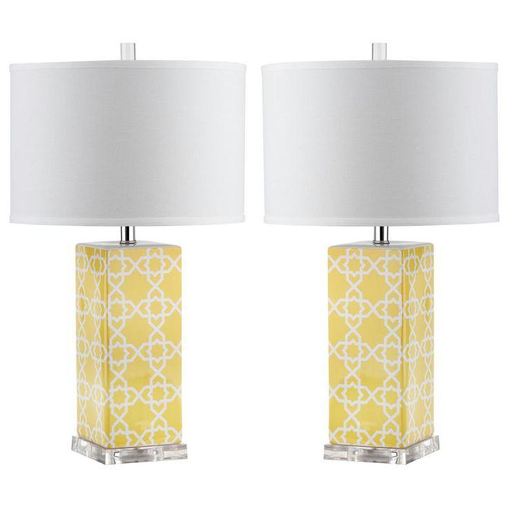 Safavieh Quatrefoil 27 in. Yellow Table Lamp (Set of 2)