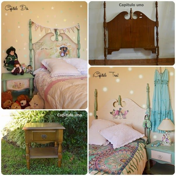 Before and after: old headboard and night stand, upcycled into double faced furniture. On one side with nursery deco, on the other with teenage scene