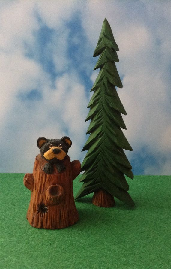 Cub in a Stump  Hand Carved Country Bear by TheWanderingWhittler, £18.50