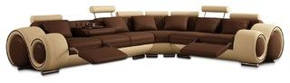 Beige and Brown Leather Sectional Sofa With Built-in Footrests - modern - sectional sofas - by New York Furniture Outlets, Inc.