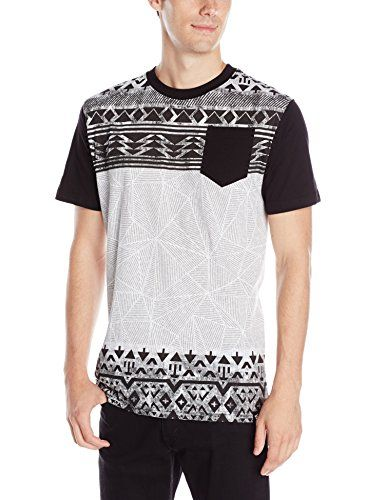 Southpole Mens All Over Print Graphic Tee with Horizontal Blocks and Pocket  On Chest, Black,