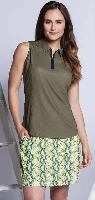 Check out our JUNGLE (Utopia/Reptile) Bette & Court Ladies Golf Outfit (Shirt & Skort)! Find stylish golf apparel at #lorisgolfshoppe Click through to own this outfit!