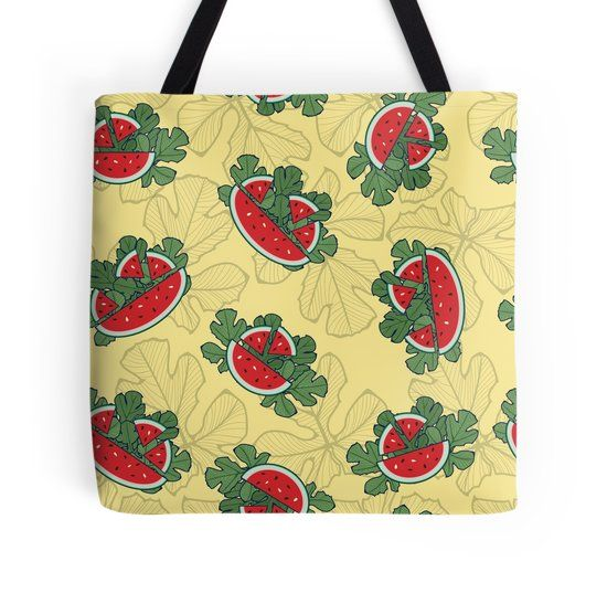 Watermelon inspired seamless pattern on tote and many more
