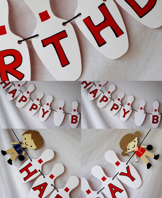Bowling Party theme Birthday Banner - Great for kids or even over the hill (BANNER ONLY)