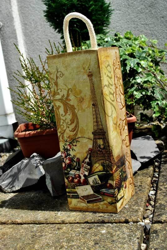 Decoupage Parisian Wine Box