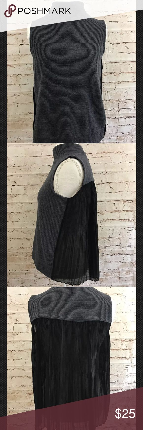 French Connection Gray Ribbed Sheer Back Knit Top Bust 19 inches laying flat Length 22.5 inches   Smoke & Pet Free Home  Thank you for looking at this item. Be sure to check out my other listings, will be adding more items this week. French Connection Tops Blouses