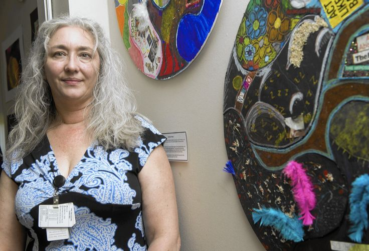 Amazing Art therapist, Danielle Merk, MPS, ATR, who heads the art therapy program at Sacred Heart Hospital talks about art therapy and and the exhibit at the hospital in Allentown. -//// MICHAEL KUBEL / The Morning Call ---- Wednesday June 24 2015 (MICHAEL KUBEL, THE MORNING CALL)
