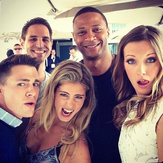 Colton Haynes (Roy Harper), Emily Bett Rickards (Felicity Smoak), David Ramsey (John Diggle) and Katie Cassidy (Laurel Lance) on the set of Arrow.