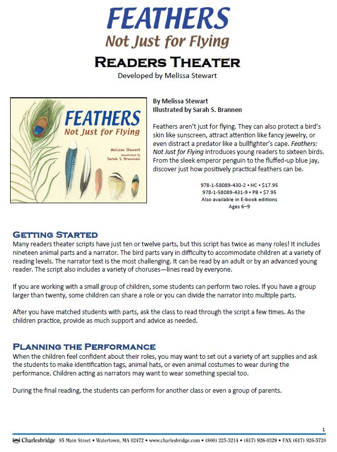 Readers Theater script based on this book: http://www.melissa-stewart.com/pdf/Feathers_ReadersTheater.pdf#zoom=70