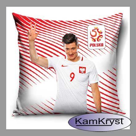 Robert Lewandowski - poszewka i poduszka z kapitanem naszej drużyny piłkarskiej w barwach narodowych - produkt licencyjny PZPN.