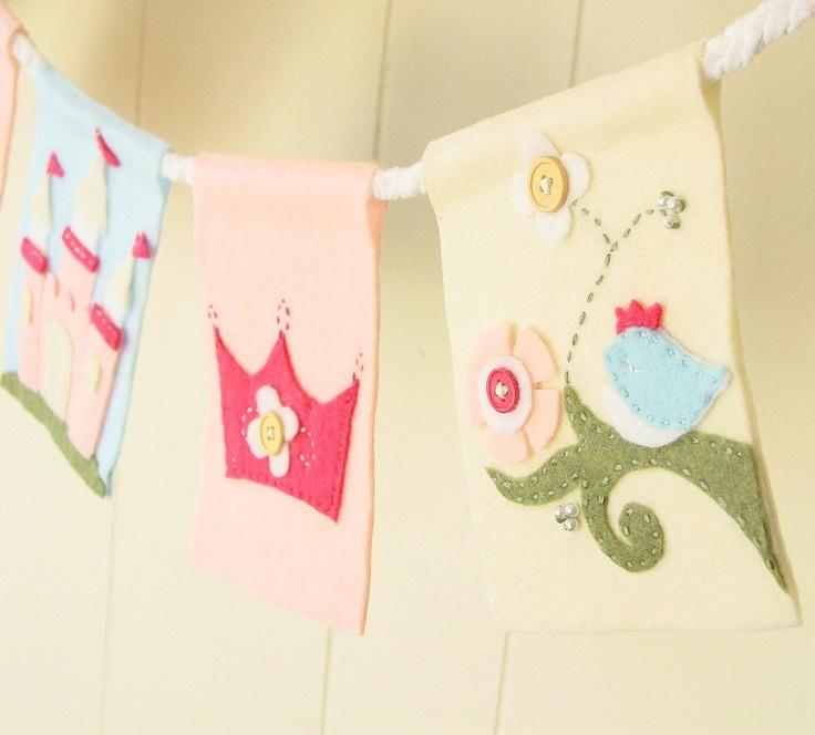 Princess fairy tale themed banner (5 flag). $35.00, via Etsy.