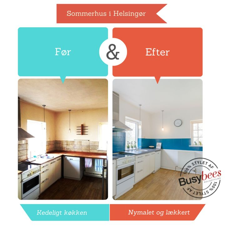 Outdated kitchen gets updated and transforms into a white and blue lovely summerhouse kitchen