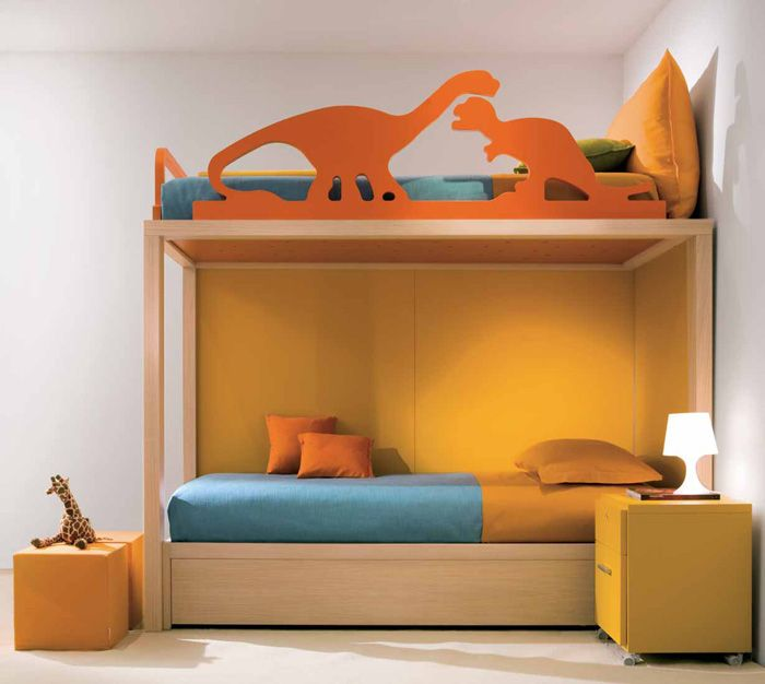 Modern And Cool Bedroom Design Ideas For Two Children: Dinosaurs Decorations  For Kids Room Design