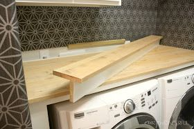 Diy Build-in counter for washer/dryer. Hide the plugs!