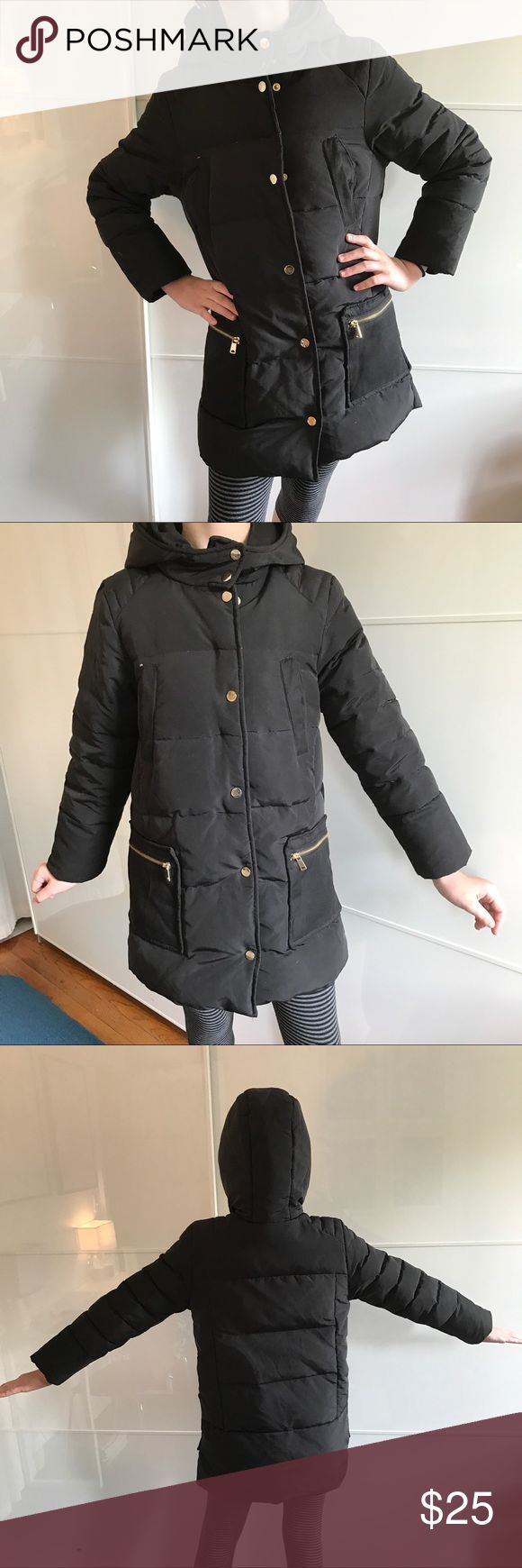 Girl 9-10 winter jacket, down+feather, black, ZARA Black winter jacket, girl 9-10 years old, 50% down and 50% feather = !warm!, by ZARA, golden zippers and snap buttons, with hood, worn but in good condition Zara Jackets & Coats Puffers