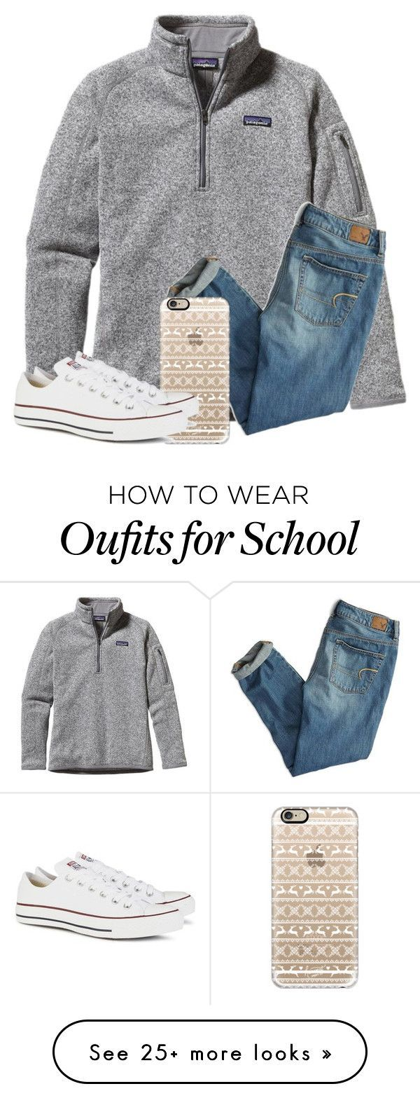 """School"" by liveloveshopfashion on Polyvore featuring Patagonia, American Eagle Outfitters, Casetify and Converse"
