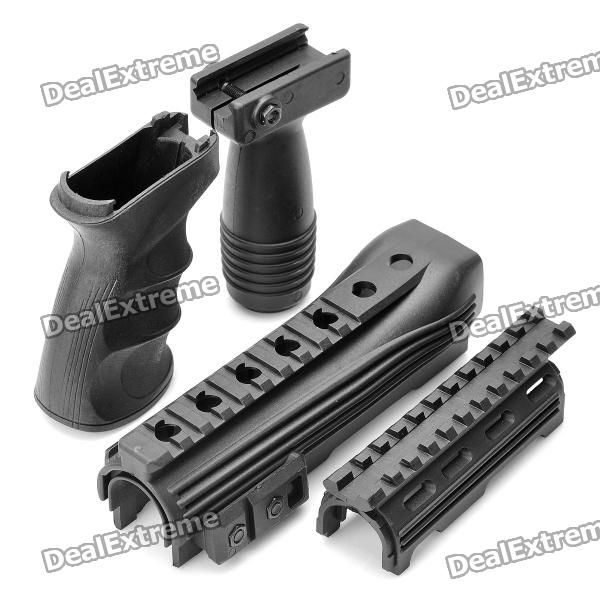 Tactical Rail Handguard + Front Grip + Rear Grip Set for AK47 - Black (Set of 4)  Price: $23.40  Free Shipping!