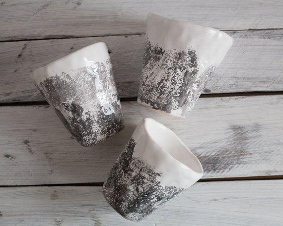 Set+of++THREE+gray+white+ceramic+handmade+cups+by+KateVoronina