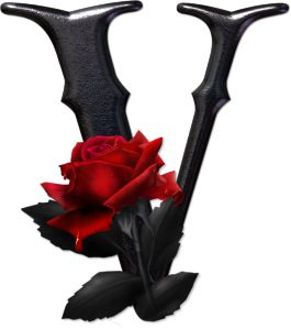 Abecedario gótico adornado con rosas. Letra V mayúscula.