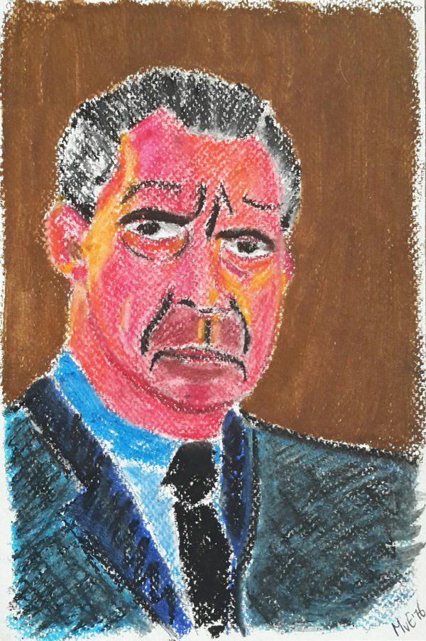 Een nieuwe techniek : #oliepastel met terpentine. Portret president Nixon.