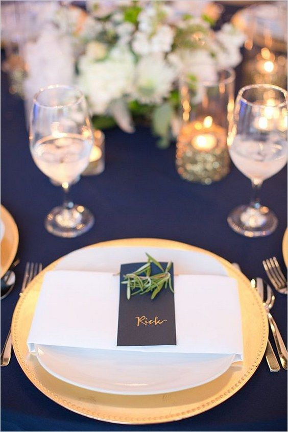 gold and navy wedding table decor