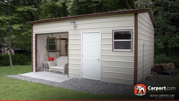 16' x 21' Vertical Style Metal Garage with Roll-up Door ...