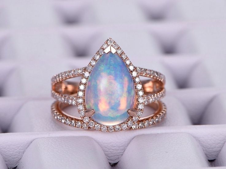 Pear Africa Opal Engagement Ring Sets Pave Diamond Wedding 14K Rose Gold 8x12mm