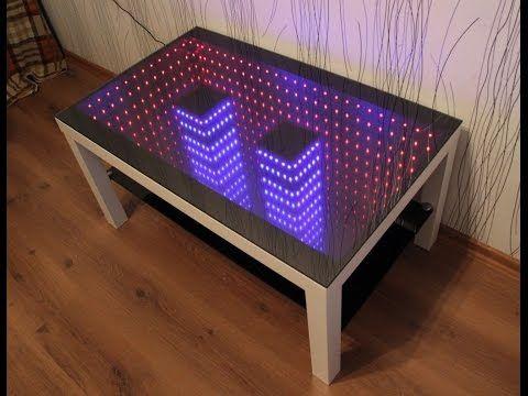 2 независимые подсветки infinity mirror table столик с подсветкой бесконечности - YouTube