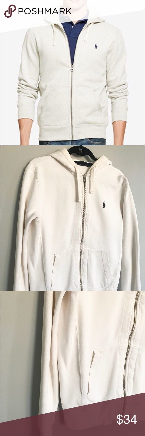 Polo Ralph Lauren Men's Hoodie White Great worn condition this Polo Ralph Lauren Hoodie is a basic wardrobe staple. There is slight discoloring at the neckline and top of the Hoodie. The price reflects this small flaw.   Classic Fitting Full Zip in soft washed cotton fleece is smooth on one side and fuzzy on the inside. Polo by Ralph Lauren Shirts Sweatshirts & Hoodies