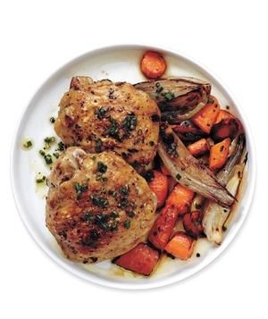 Roasted Chicken, Carrots, and Shallots recipe