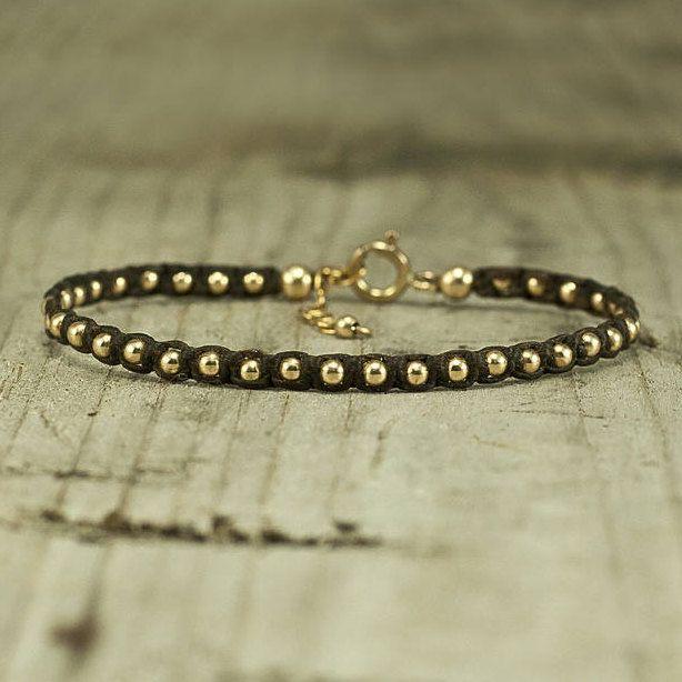 Gold Beaded Bracelet,Brown bracelet, handmade string bracelet,stack bracelets,stack bracelet,jewelry for her,arm candy,boho style,macrame by FreebirdBracelets on Etsy