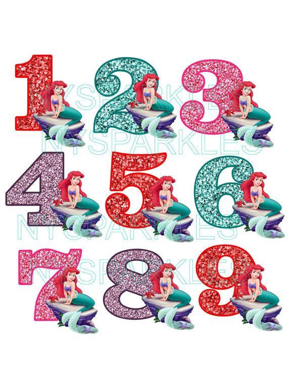 Kleine zeemeermin nummering Ariel verjaardag voor donkere of lichte stof - Vinyl Iron-On warmteoverdracht - DIY Iron-On No-Naai