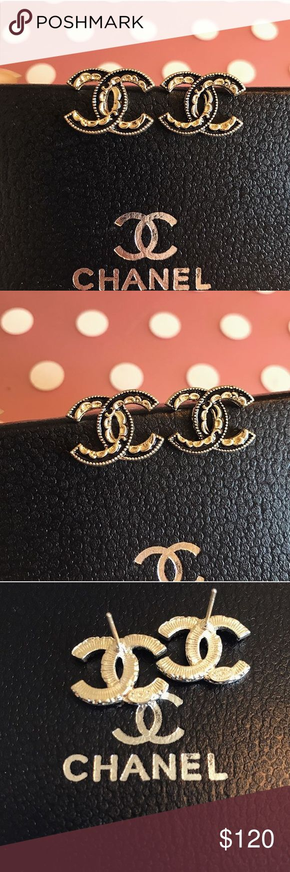 NIB Chanel black gold stud earrings New in box! High quality in-spired Chanel earrings with stamps on the back! Please send me an offers and bundles for discount :) CHANEL Jewelry Earrings