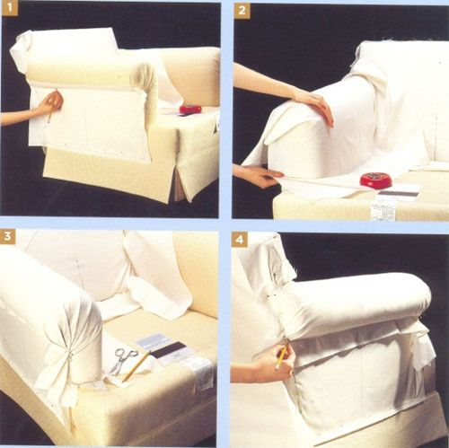 Этапы пошива боковой части чехла на кресло (диван)